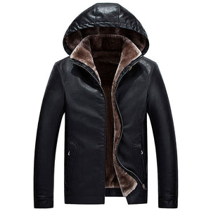 Winter Leather Jacket 2020 New Men's Casual Fashion Jackets Lapel Black/Brown Zipper Outwear Fur Collar Men High Quality Coats