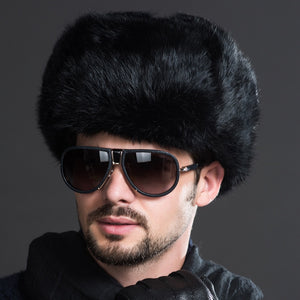 Winter New Fashion Male Mens Warm Fur Bomber Hats Black Brown Solid Thicken Earflap Caps Leifeng Snow Hats Hot S4447