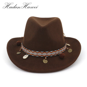 0044aa9d25a Winter Spring Western Cowboy Hat For Womem Men Wide Brim Cowgirl Jazz Cap  With Leather Toca Sombrero Cap Tissue Belt MNNZ014