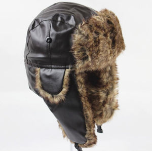 Winter Thicken Men Earflap Hat Cap Black Brown PU Leather Dad Hat Faux Fur Russian Avitor Hat Cap Male Bomber Hat