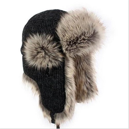 Winter Warm Lei Feng Caps Hats Russian Europe Winter Warm Knitted Hat  Sports Ear Flaps Masks Bomber Thermal Hat  A2492