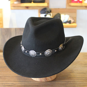Winter Wide Brim Black Wo Western Cowboy Hats For Men Chapeu Felt Fedora Hats Free Shipping PWFE040