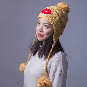 Winter Woman Caps Adult Cot Winter Hat Cot Wo Balls Cover The Mouth Red Lips Skullies Beanies Red White Yellow Beige