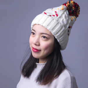Winter Woman Caps Square Plaid Pattern Hat Knit Line Ball Cot Skullies Beanies Red Pink Black White Gray Beige