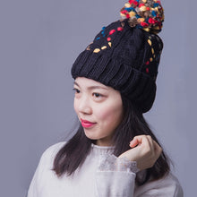 Load image into Gallery viewer, Winter Woman Caps Square Plaid Pattern Hat Knit Line Ball Cot Skullies Beanies Red Pink Black White Gray Beige