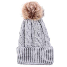 Load image into Gallery viewer, Winter Women Knitted Beanie Cap Keep Warm Faux Fur Hats Gorro Chapeu Amazing Sep Solid Color