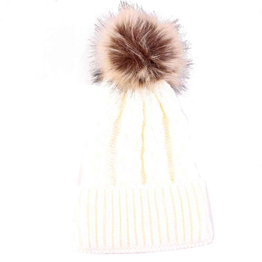 Winter Women Knitted Beanie Cap Keep Warm Faux Fur Hats Gorro Chapeu Amazing Sep Solid Color