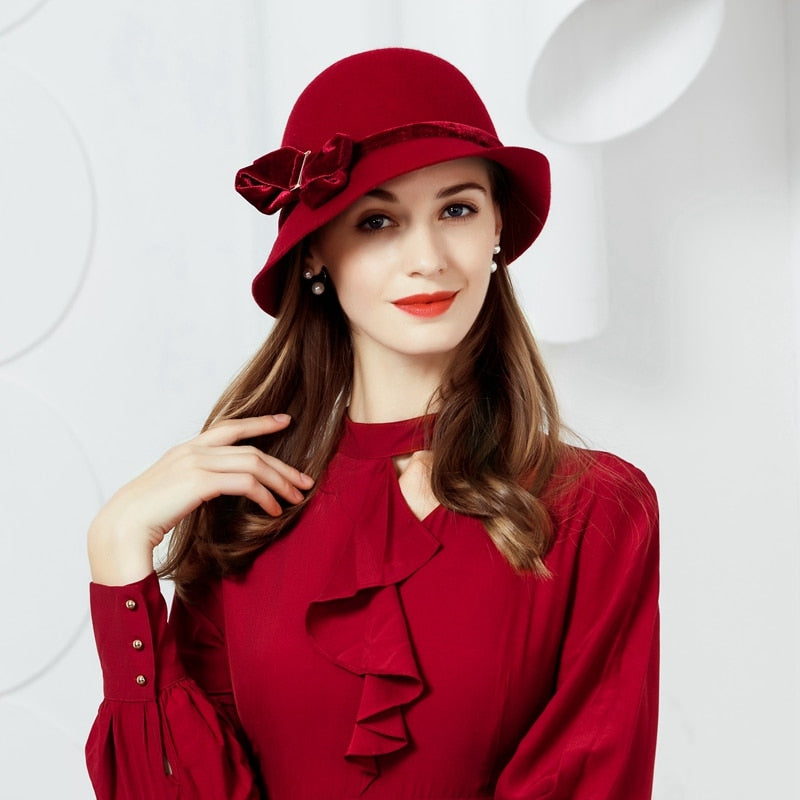Winter Women Vintage Wo Hat Fedora Fashion Curl Brim Felt Bowler Hat Female Woolen Cap  Floppy Bowknot Cloche Hats B-7473