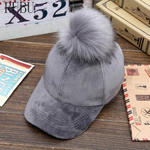 Load image into Gallery viewer, Winter hat lady fur ball baseball cap gold velvet warm bend along the cap feel soft and warm Hat with ball decoration