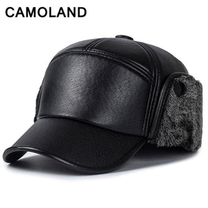 c76277520c9 Winter hats for men Bomber Hats Old men leather Caps Earflap Dad hat  Baseball caps Outdoor Keep warm Balaclava mask black cap