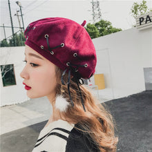 Load image into Gallery viewer, Winter women hats bow tie girl bonnets Woolen fabric Felt Straps Bandage Beret Beanie woman sombrero Fashion Hot solid hat