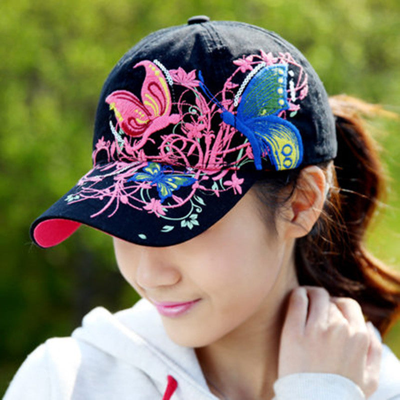 Wlholesale Summer Embroidered Baseball Cap women Lady Fashion Shopping Cycling Visor Sun Hat Cap 50PCS/lot