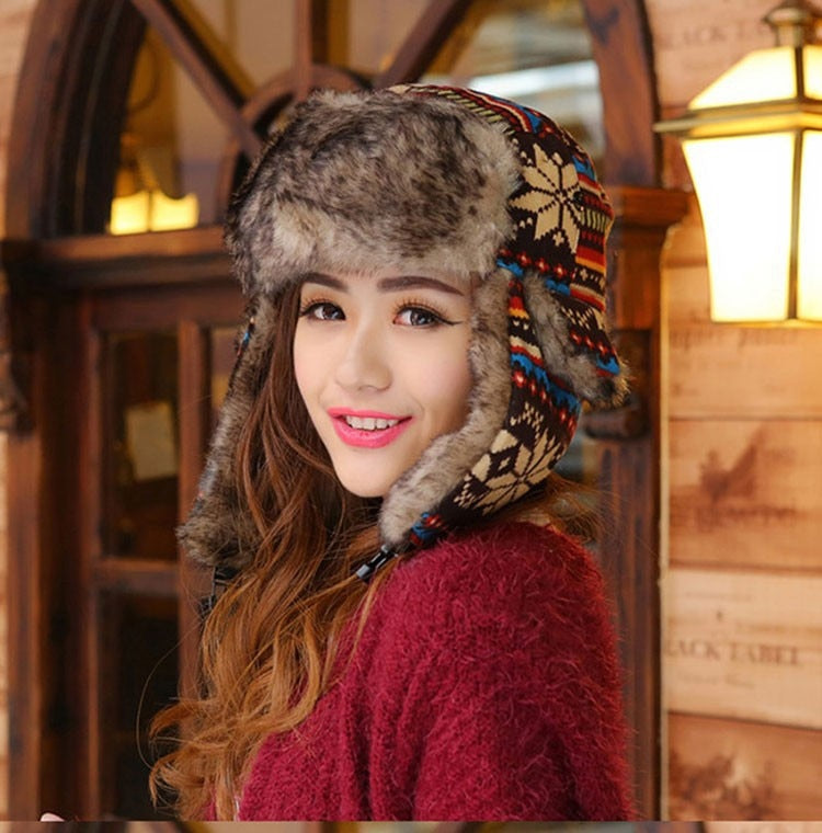 Woman Winter Bomber Hats Women Men Ear Flap Earflap Hats Snowflake Knitted Trooper Hats Unisex Thick Russian Hats