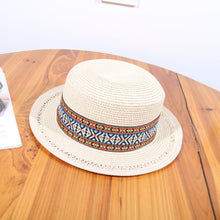 Load image into Gallery viewer, Women Beach Sun Hat Female Floppy Summer Foldable Straw Hat Bohemian Embroidery Flat Hat Ladies Headwear Travel Cap