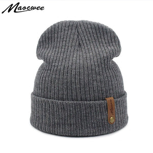 Women Beanie Cap Hat Autu WInter Adult Unisex Knitted Beanies Skuilles Hats  Solid Color Gray Black Crochet Skull Face Mask Dad 63846fe4ca3