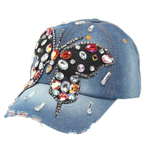 Women Butterfly High Quality Hip-Hop Baseball Cap Full Diamond Flat Snapback Hat baseball cap with rhinestones gorras#LREW