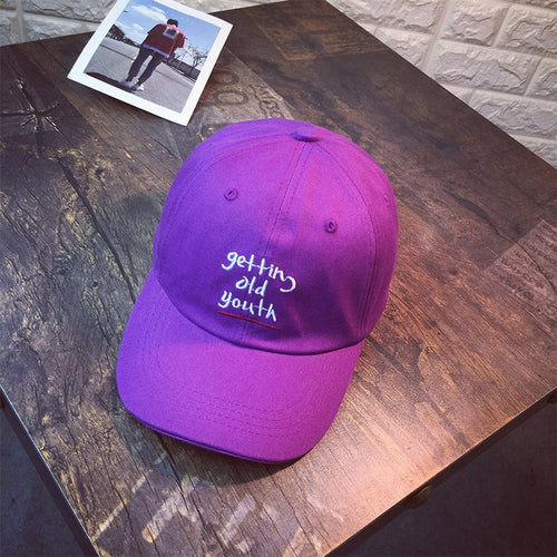 Women Chic Adjustable Letters Embroidery Purple Baseball Caps Summer Snapback Trendy Co Sun Hat Fashion Accessories