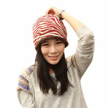 Load image into Gallery viewer, Women Fashion Beautiful Hat Winter Plus Velvet Hats For Girls Cotton Thick Warm Knitted Beanie Zebra Pattern Cap 3 Colors