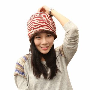 Women Fashion Beautiful Hat Winter Plus Velvet Hats For Girls Cotton Thick Warm Knitted Beanie Zebra Pattern Cap 3 Colors