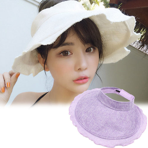 Women Fashion Sun Hat Sweet Vintage Ruffled Adjustable Foldable Portable Outdoor Sun-Proof Beach Wide Brim Caps Summer Trendy