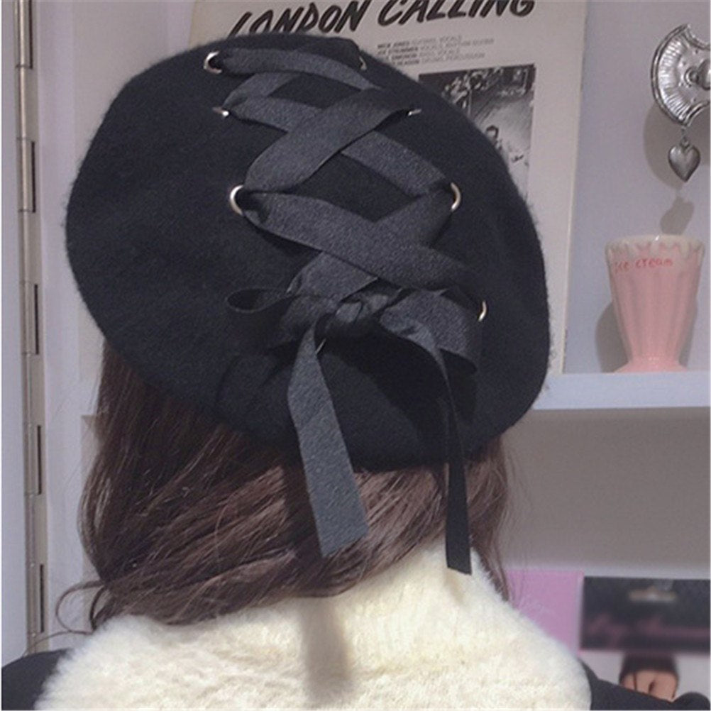 Women Fashion Warm  Felt Bucket Hat French Straps Bandage Beret Beanie Felt Hat