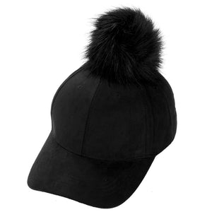 Women Faux Fox Fur Pompom Ball Suede Adjustable Baseball Cap Hip Hop Hat Winter Warm Single Ball Patchwork Baseball Hat Caps
