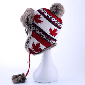 Women Faux Fox Fur Pompom Russian Ushanka Wo Knitted Earflap Bomber Trapper Hat Winter Snow Ski Cap Maple Leaf Pilot Trooper