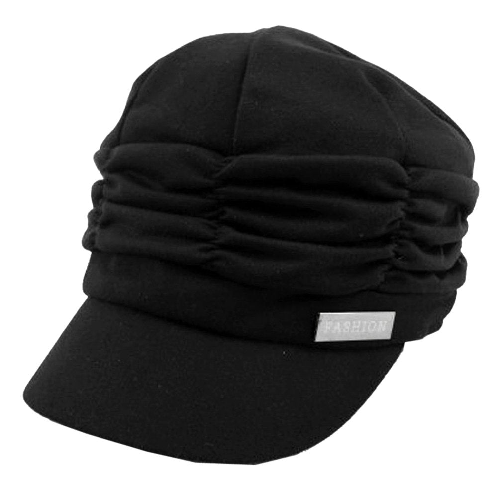 Women Girl Fashion Design Drape Layers Beanie Rib Hat Brim Visor Cap FFH010BLK Black