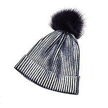 Load image into Gallery viewer, Women Girls Knitted Crochet Beanie Hat With Pom Pom Winter Warm Metallic Shiny Beanie Hat Caps New 2020 Fashion Lady Girl Hats