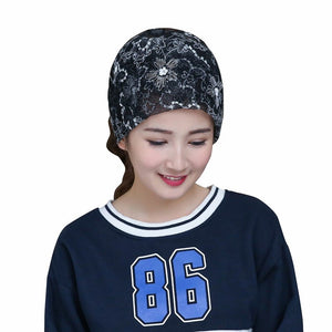 Women Hat Nice Flower Print Lace Womens Hats Scarf Collar Spring Autumn Winter Girl Cap Multifunction Beautiful Caps 04-5301