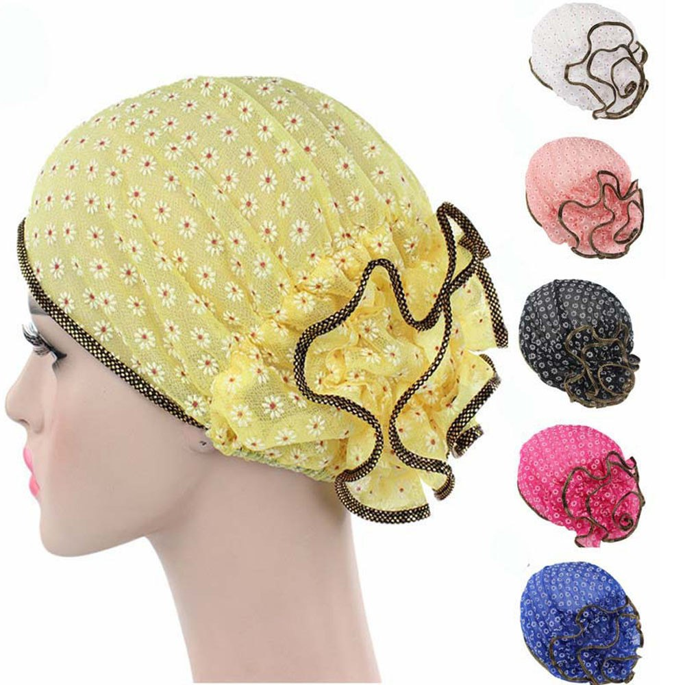 0ed30ceb2 Women Lace Small Flower hat 2018 Cancer Chemo Hat Beanie Scarf Turban Head  Wrap Cap winter hats for women Freeshipping