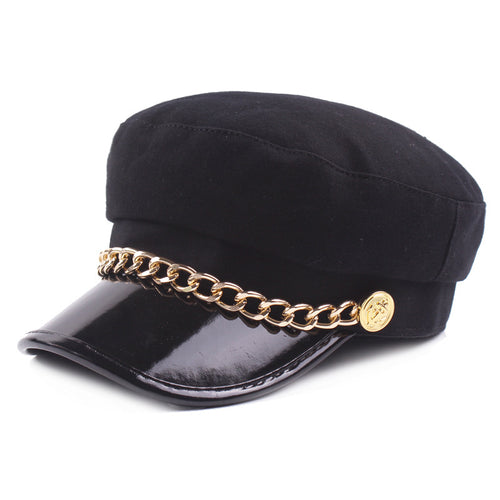 Women Man Wo Newsboy Caps Fashion Black Solid Color Military Hats With Gold Chains Female Berets Gorras Woolen navy cap