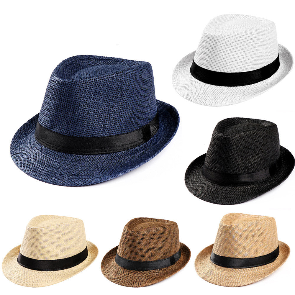 70f24e6f6 Women Men Summer Trendy Beach Sun Straw Panama Jazz Hat Cowboy Fedora hats  Gangster Cap chapeau summer female hat sunhat