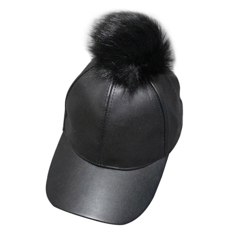 Women Men Unisex PU Leather Ball Suede Adjustable Baseball Cap Real Fur Poms Baseball Hats Hiphop Casual Snapback Winter Hats