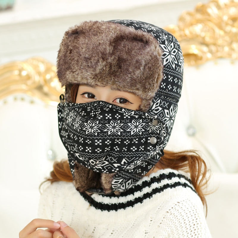 Women Men Warm Winter Trapper Hat With Mask Snow Earflap Cap Unisex Russian Hats With Snowflower Printed Outdoor Bomber Hat