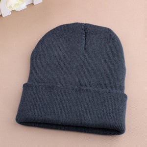 Women Men Winter Hat Snap Back Muts Knit Hip Hop Beanie Warm Ski Cap Bonnet femme Solid Color Cheap Gorro No Pompom Wholesale