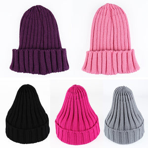 Women Men Winter Hats Solid Color Pointy Hat Knitted Warm Cap High Elastic Ear Warmer Black Caps Hip-pop Hats gorras