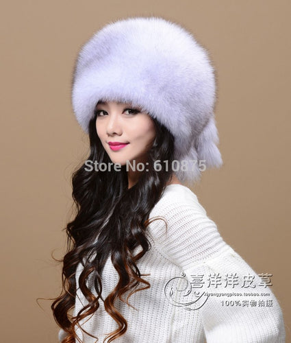 Women Men Winter Plus Size Bombers Mink Fur Hat Female Winter Fur Hat Mink Skin Hat Mink Fur Hat