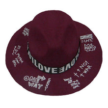 Load image into Gallery viewer, Women Men Woolen Felt Fedoras Vintage Unisex Wide Brim Jazz Trilby Printing Letter Graffiti Formal Top Hat for Adults GH-569