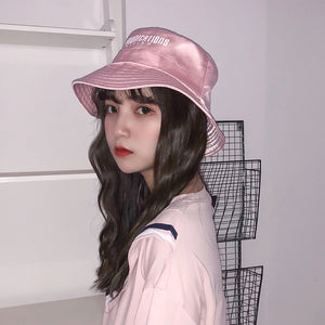 Women Pink Bucket Hats Chic Ladies Summer Sun Hat 2018 New Japan Sun proof  Cap Harajuku 90277ad9a4b