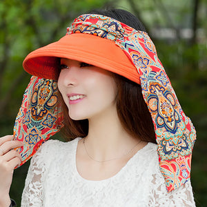 Women Summer Anti-UV Sun Hat cover Beach Foldable Sunscreen Floral Print Caps Neck Face Wide Brim Sun Hat Female