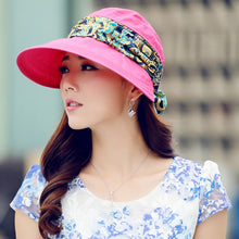 Load image into Gallery viewer, Women Summer Anti-UV Sun Hat cover Beach Foldable Sunscreen Floral Print Caps Neck Face Wide Brim Sun Hat Female