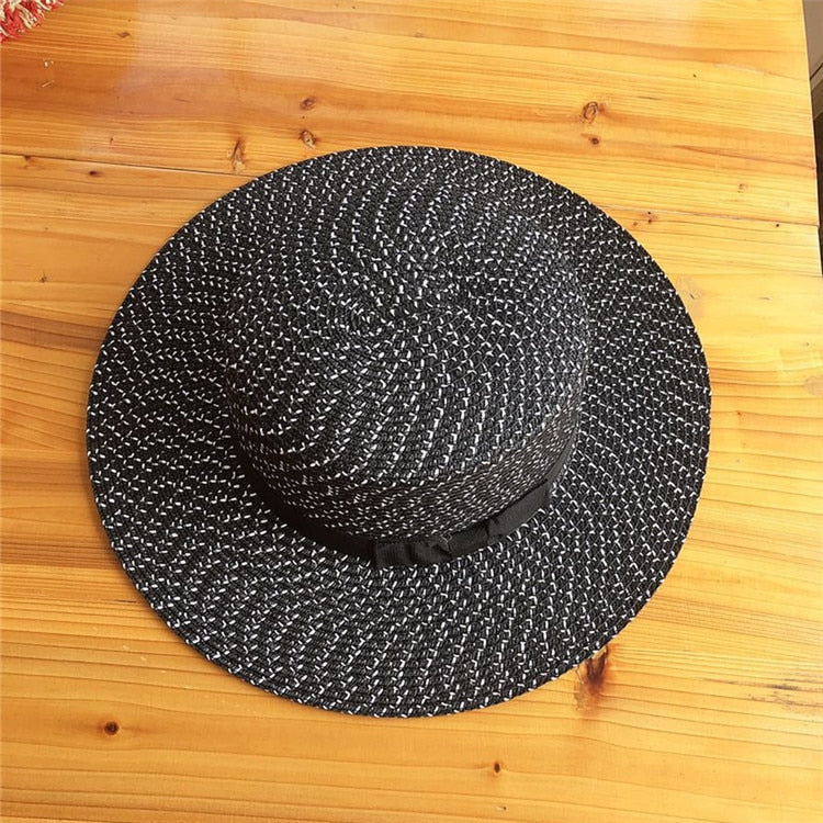 Women Summer Beach Sun hats 2018 Brand Black and white New Flat Top St –  oePPeo - Master of Caps   Hats 755369726ac5