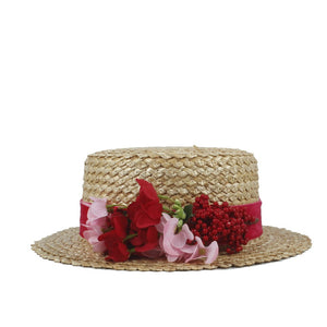 Women Summer Wheat Straw Boater Hat Lady Beach Wide Brim Flat Sun Hat With Handmade Weave Red Flower Size 56-58CM