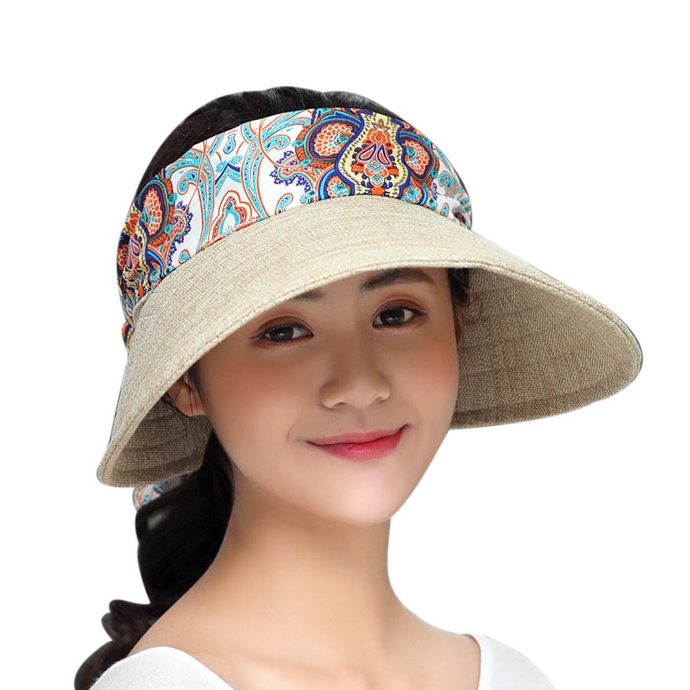 6e0c047e ... Load image into Gallery viewer, Women Sun Hat Summer Large Brimmed  Visor Fashion Adjustable Collapsible ...
