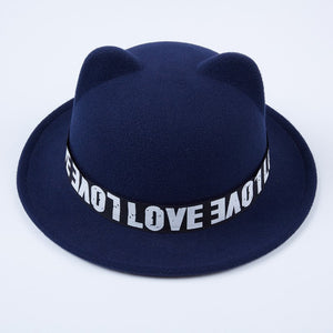Women ladies animals Cat Ears felt hat Woolen Fedoras Hats with Heart-shaped Diamond navy blue Trilby bowler hat derby for femal