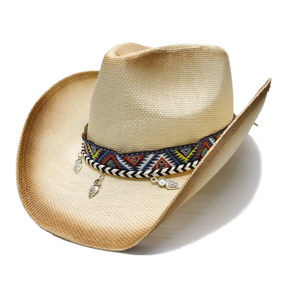9d29e0017731d1 Women's Men's Summer Straw Beach Wide Brim Western Cowgirl Fedora Cowboy Hat  National Style Pendant Beads Leather Band 58cm