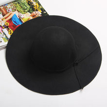Load image into Gallery viewer, Women's Wide Brim Felt Bowler Fedora Hat New Pillbox HatFloppy Sun Bowknot Cloche Cap Women's Large Hat 10 Colors outdoor