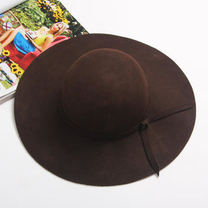 Women's Wide Brim Felt Bowler Fedora Hat New Pillbox HatFloppy Sun Bowknot Cloche Cap Women's Large Hat 10 Colors outdoor