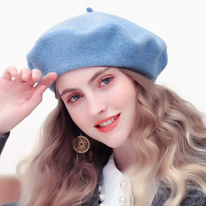 Wool Beret Hats Women Winter French Hat Girls Solid Color Fashion  Autumn Winter Beret Hat For Women Flat Cap Hat Felt Berets